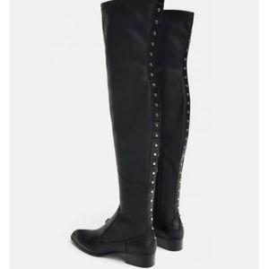 NWT Zara Studded Flat Stretch Boots